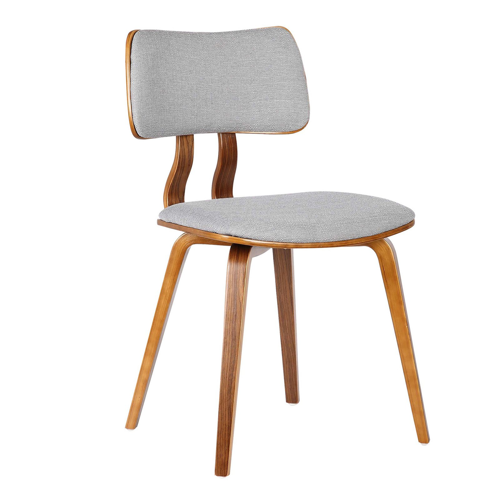 Armen Living Jaguar Mid-Century Dining Chair in Walnut Wood and Fabric