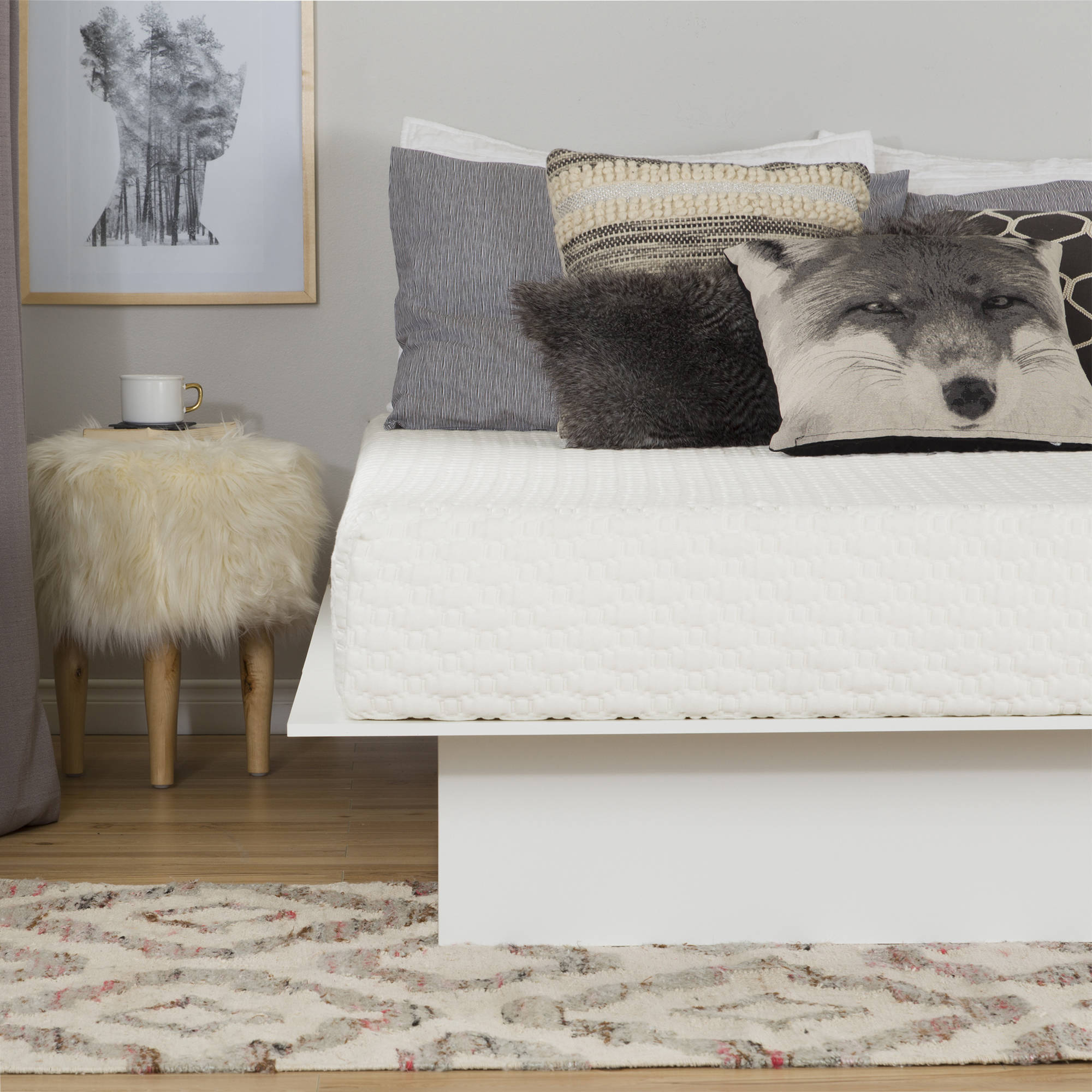 "South Shore Somea White Basic 8"" Full Memory Foam Mattress, 54"""