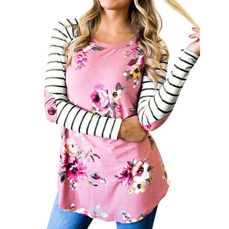 Nlife Women Floral Striped with Elbow Patch T-Shirt