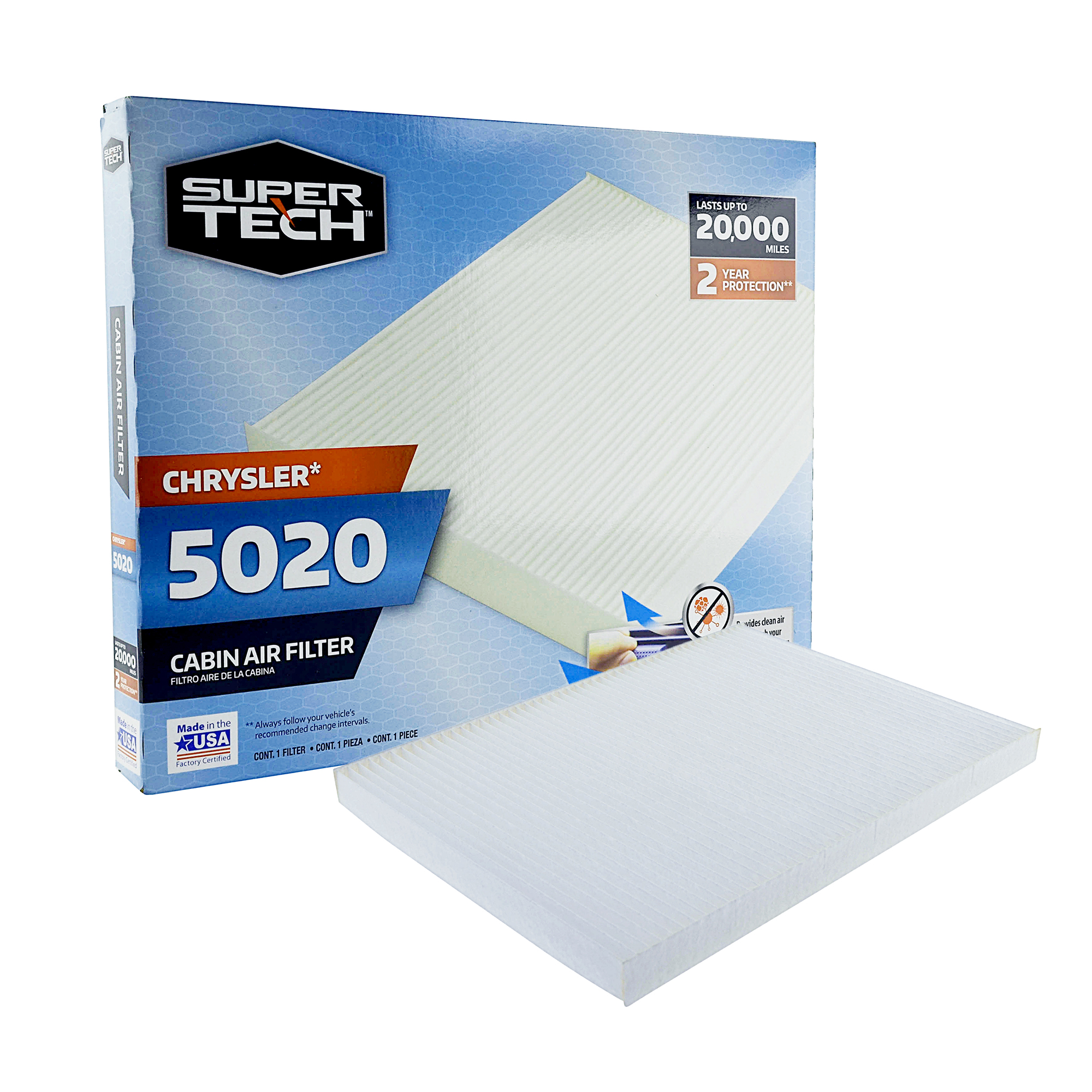 SuperTech Cabin Air Filter 5020, Replacement Air/Dust Filter for Chrysler