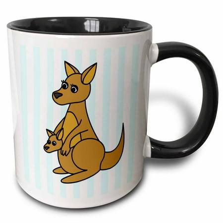 3dRose Mom and Baby Kangaroo Design - Two Tone Black Mug, 11-ounce - Kangaroo Halloween Costumes For Mom And Baby