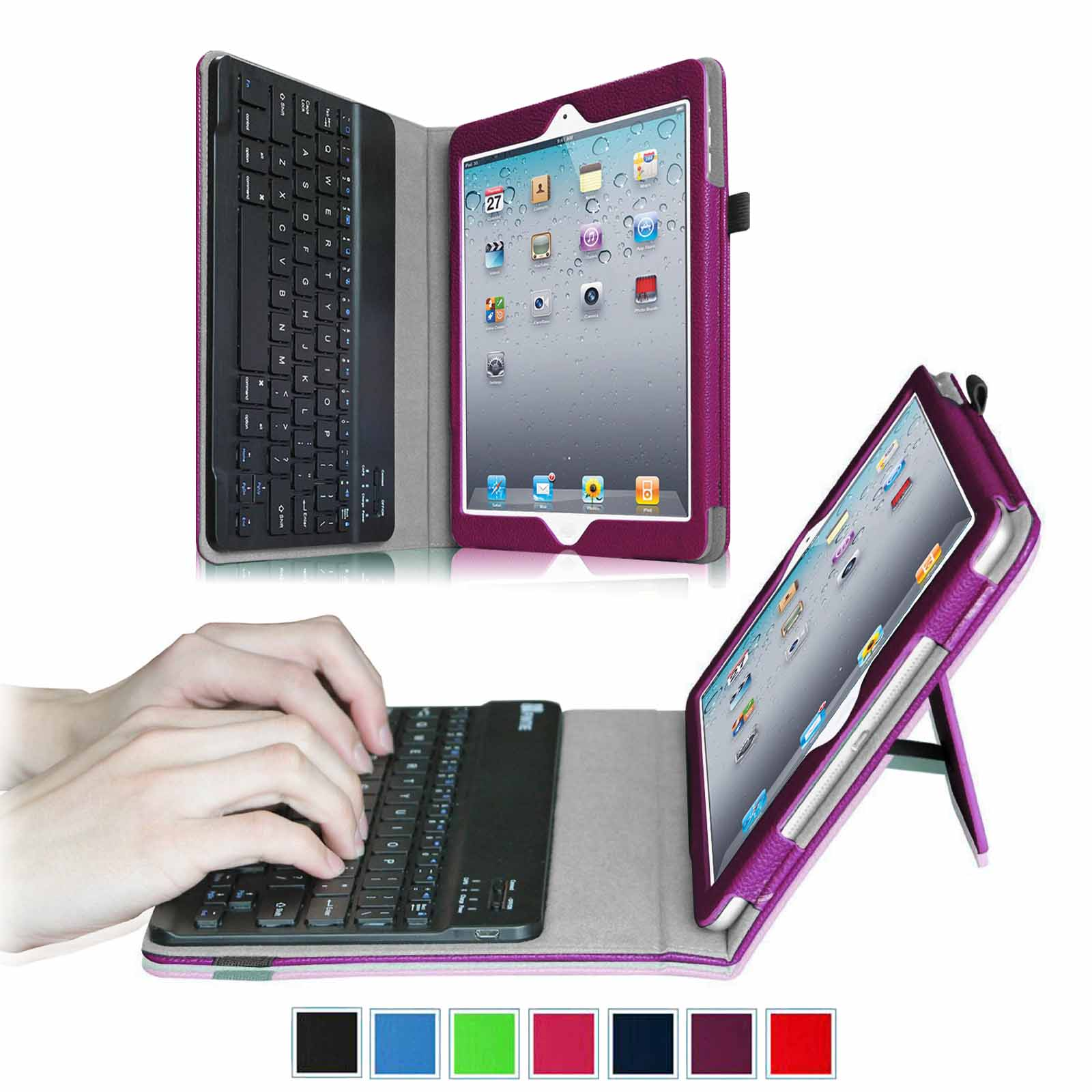 Apple iPad 4, iPad 3 & iPad 2 Keyboard Case - Fintie Ultra Thin Folio Case With Removable Bluetooth Keyboard, Purple