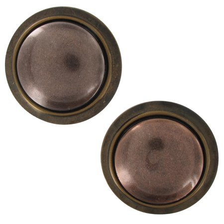 Distressed Oxidized Copper Bronze Two Tone Oversized Large Button Pierced Earrings 2""