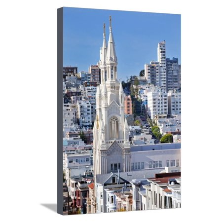 Saint Peter and Paul Catholic Church Steeples Houses San Francisco, California Stretched Canvas Print Wall Art By William (St Peter And Paul Church San Francisco)