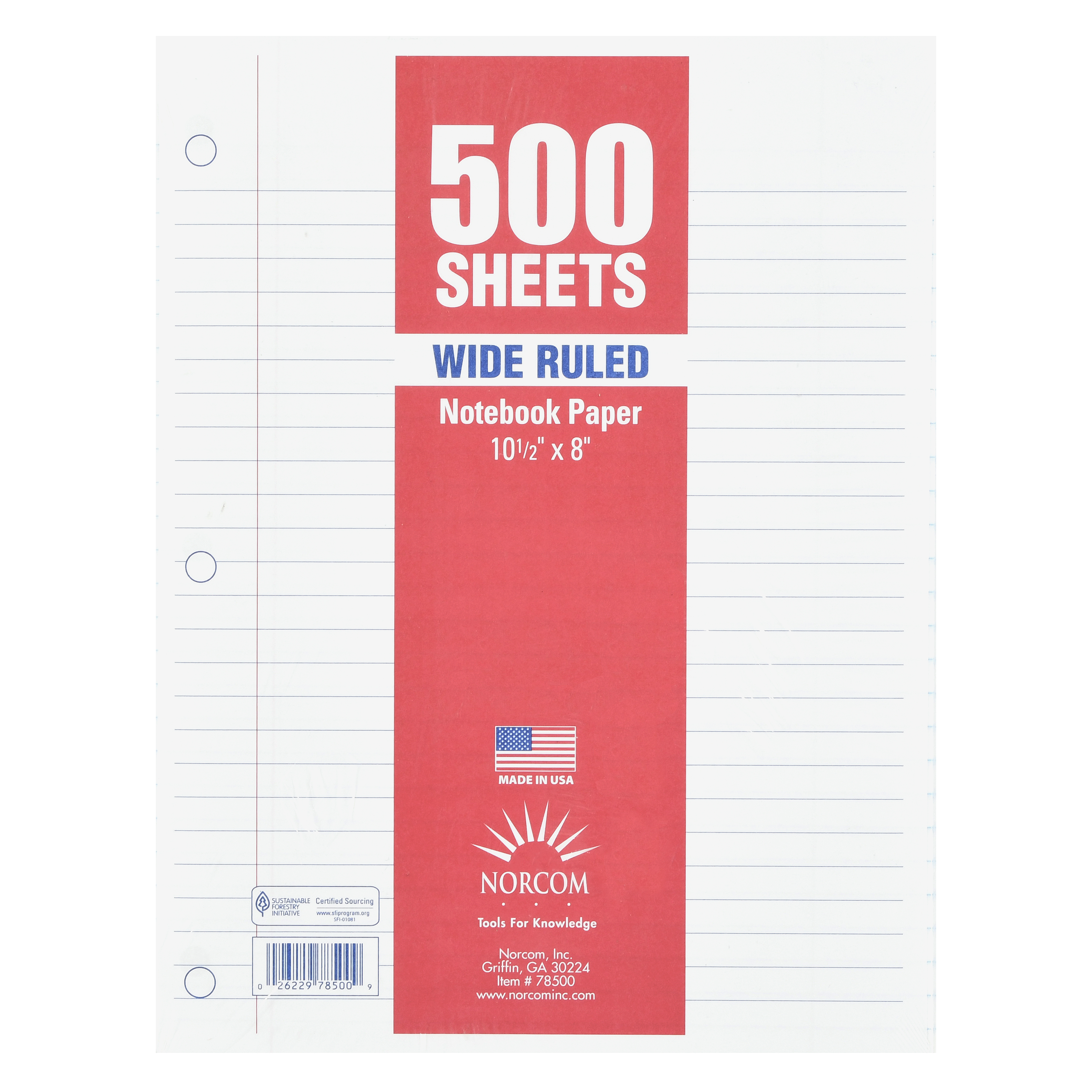 "Norcom Filler Paper, Wide Ruled, 500 Pages, 8"" X 10.5"