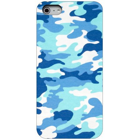 - CUSTOM Black Hard Plastic Snap-On Case for Apple iPhone 5 / 5S / SE - Blue White Camouflage