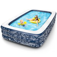 "Inflatable Pool, Above Ground Swimming Pool for Kiddie/Kids/Adults/Family 22"" Inch Depth (XL Dimensions 10'x6' Ft) Dark Blue"