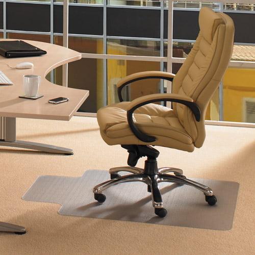 "Floortex Computex Anti-Static Advantagemat PVC Rectangular Lipped Chairmat for Standard Pile Carpets 3/8"" or less, 36"" x 48"", Clear"