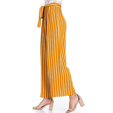 Made by Olivia Women's Stripe Print Waist Self Bow Tie Crepe Long Pants Mustard M ()