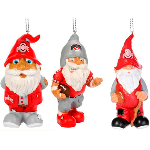 Forever Collectables NCAA Gnome Christmas Ornament Set, Ohio State University Buckeyes, 3pk