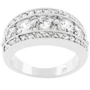 Sunrise Wholesale J2184 White Gold Rhodium Bonded Seven Stone Anniversary Illumination Ring - Size 07