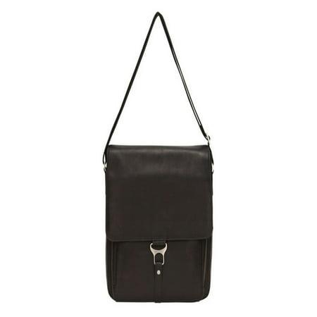 Recycled Vertical Messenger Bag - BLACK LEATHER VERTICAL LAPTOP MESSENGER