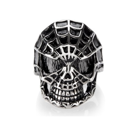 Stainless Steel Spider Web Skull Ring (Surgical Steel Spider Web Ring)