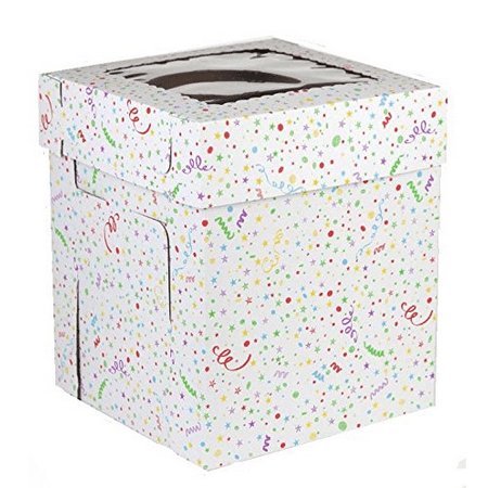 CakeSupplyShop Stacked/Tiered Confetti Cake Box, 16in X 16in X 12in - Cake Box