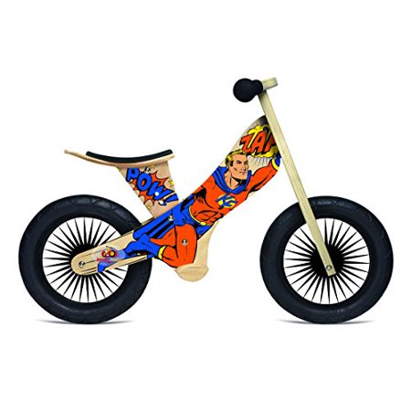 - Kinderfeets Retro Wooden Balance Bike, Superhero