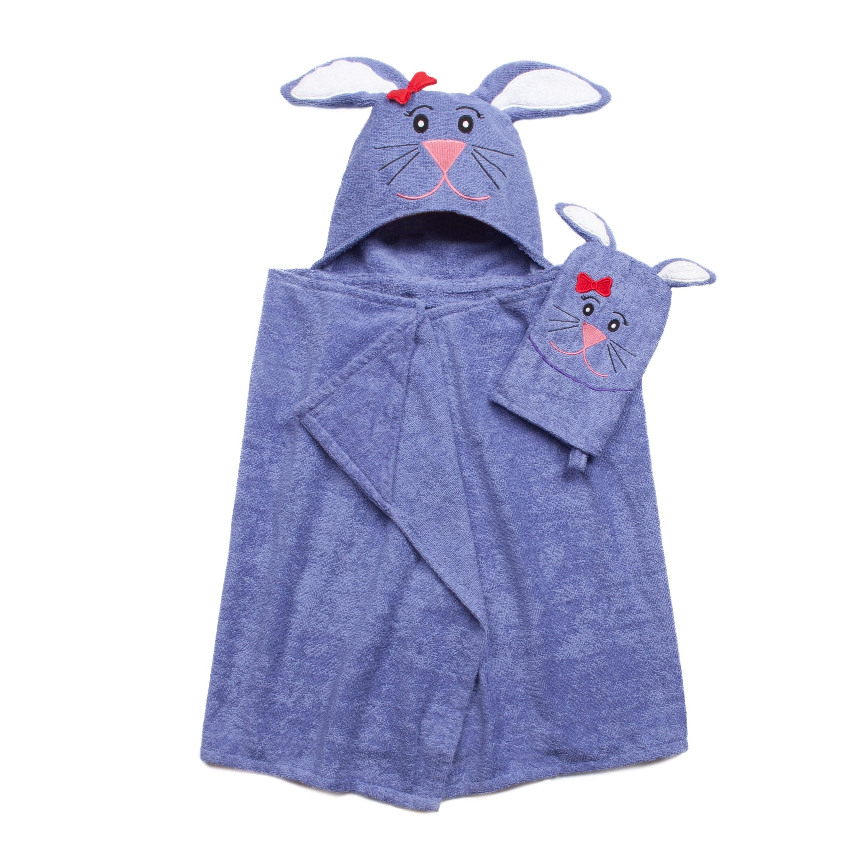 American Dawn Tub Time Tots Bunny Hooded Kids Bath Wrap with Mitt