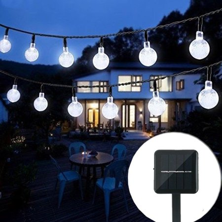 Solar String Light Globe 20ft 30 LED Crystal Balls Outdoor Home Decor  LED Fairy Lights ()