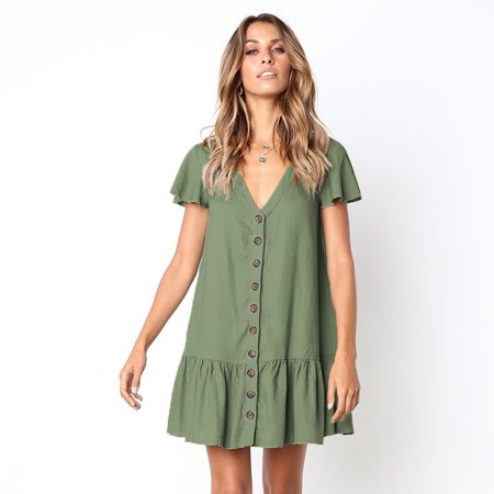 Summer Fashion V-neck Buttom Mini Dress Ruched Stretch Short Sleeve Loose Women's Dress Plus Size
