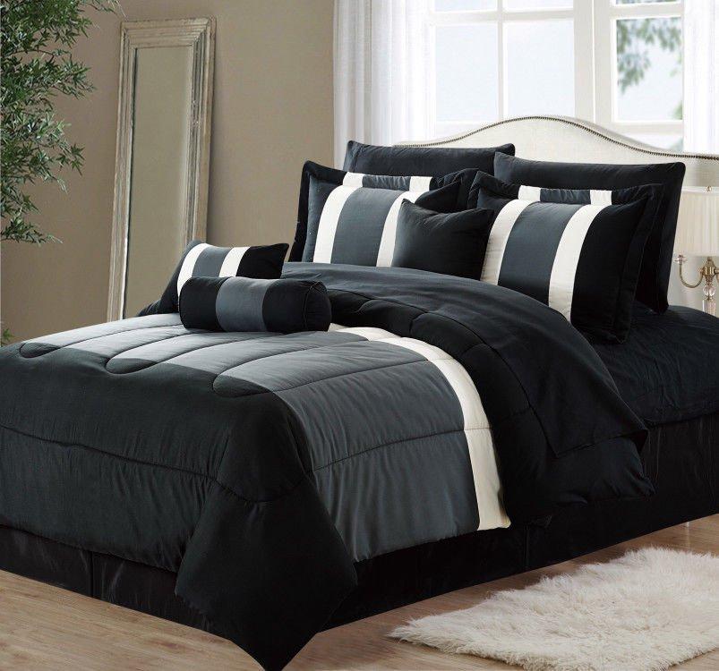 11 Piece Oversized Black U0026 Gray Comforter Set Bedding With Sheet Set (King  Size