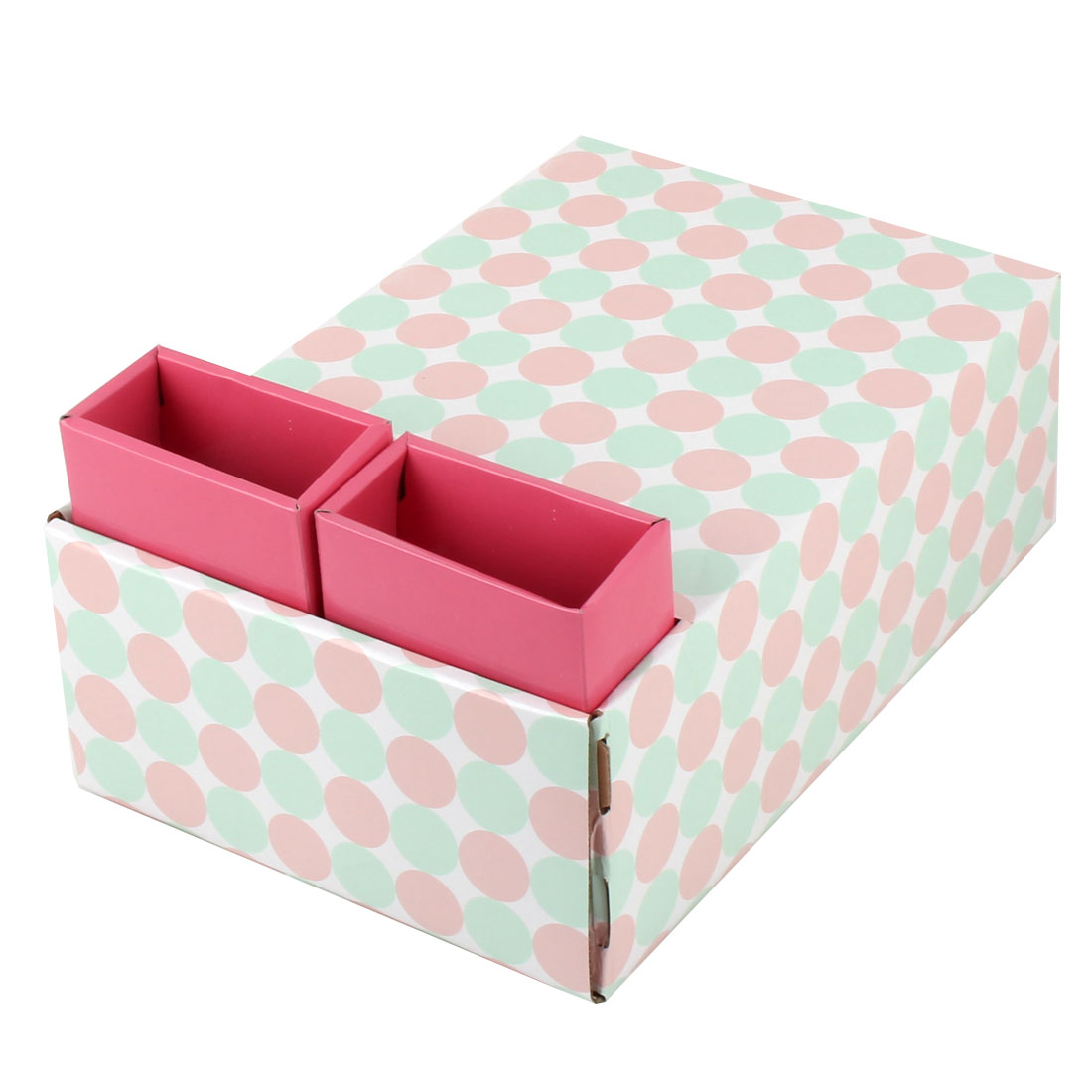 Unique Bargains Home Paper Dot Pattern DIY Foldable Book Holder Container Storage Box Case Red - image 4 de 6