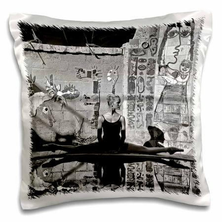 3dRose Ballerina dancing at famous Cuban painter and sculptor Jose Fuster�studio - Pillow Case, 16 by