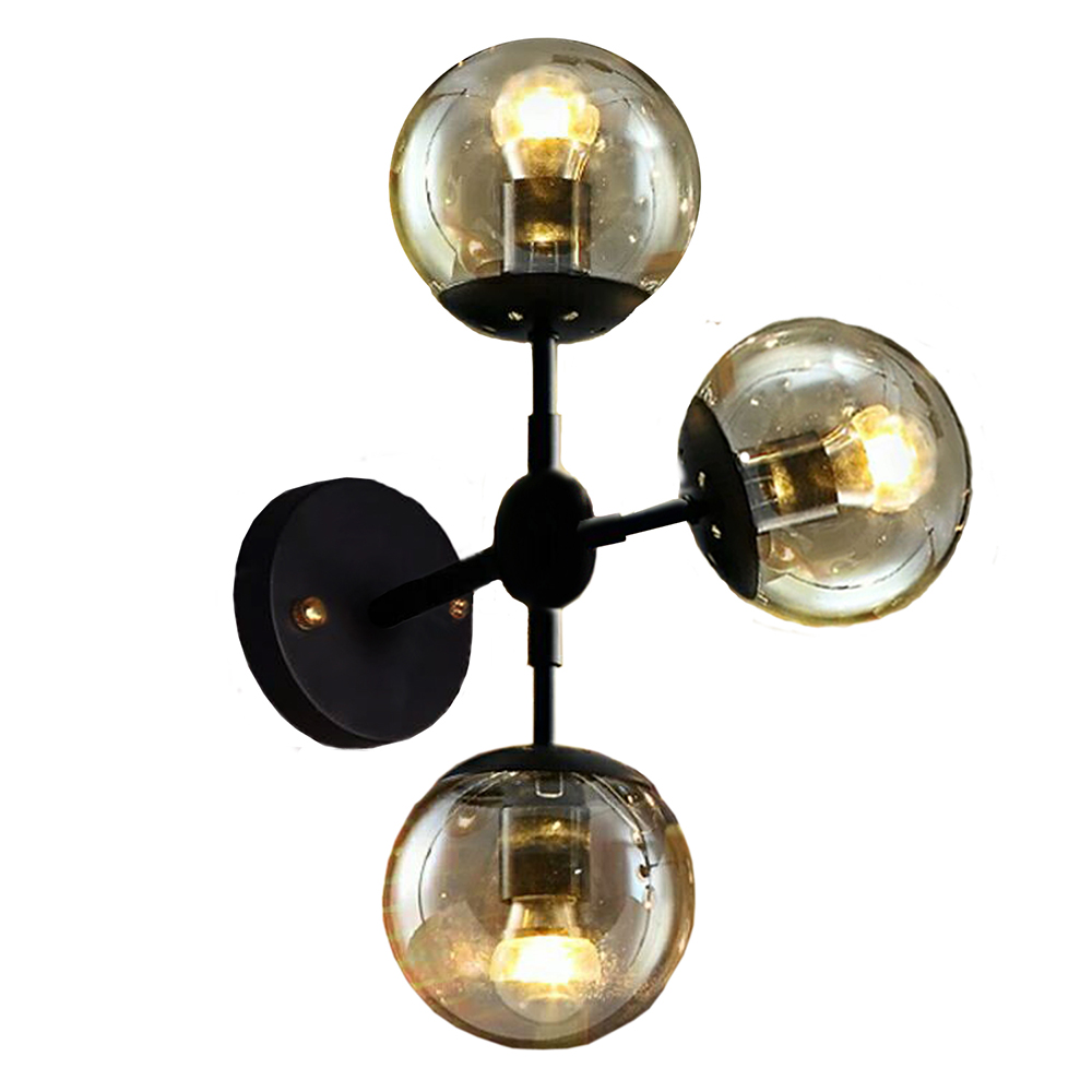 Sadette 3-Light Glass Globe Black Wall Sconce Edison Bulbs Included