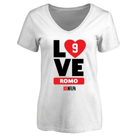 Tony Romo Fanatics Branded Women's I Heart V-Neck T-Shirt - White (Tony Romo Junior Football)