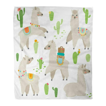 KDAGR Throw Blanket 50x60 Inches Cute Hand Drawn Llama Baby Baby Baggage Botanical Bright Cactus Cactus Warm Flannel Soft Blanket for Couch Sofa Bed ()