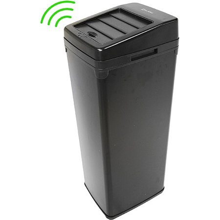 Itouchless 14 Gallon Trash Can With Infrared Sensor Sliding Lid  Black Steel