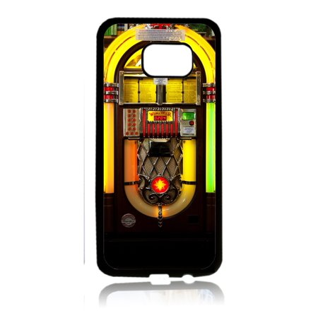 Vintage Style Jukebox Record Music Player Black Rubber Thin Case Cover for the Samsung Galaxy s7 Edge - Samsung Galaxy s7 Edge Accessories - s7 Edge (Best Music Player For Galaxy S7)