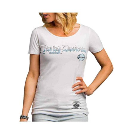 Harley-Davidson Womens Riding Addiction Keyhole Back Premium Tee White H602-HE07, Harley Davidson