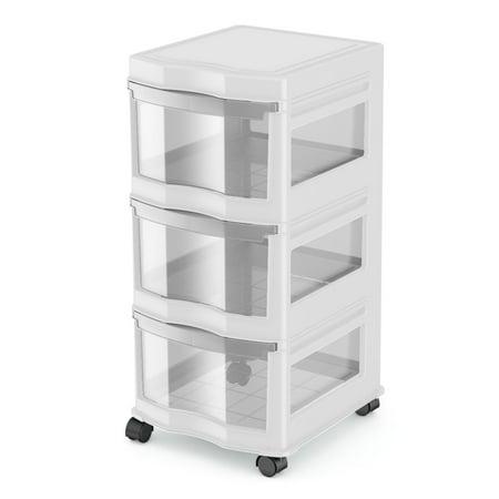 Life Story Classic 3 Shelf Storage Container Organizer Plastic Drawers, (White Storage Container)