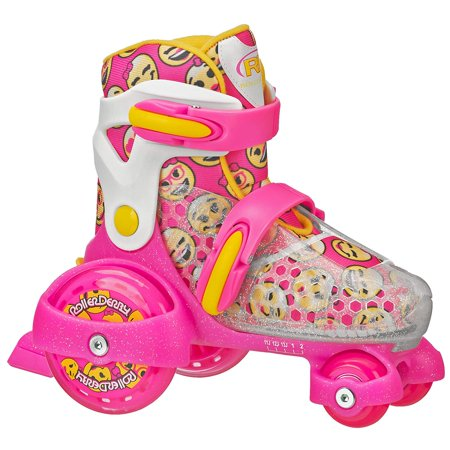 Girl's Fun Roll Adjustable Roller Skate, Medium (11-2), Quad roller skates. Adjustable between 5 sizes. Soft padding and molded ankle support.., By Roller Derby (Small World Fun Roller)