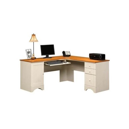 harbor view corner computer desk in antique white finish