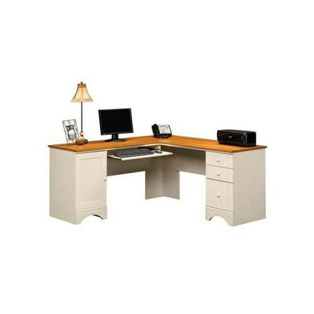 Harbor view corner computer desk in antique white finish - Corner table walmart ...