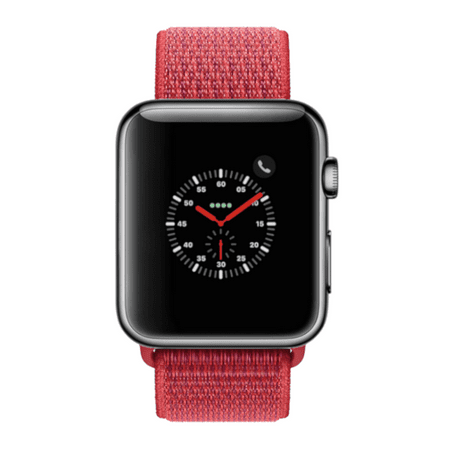 Apple Watch Series 3, 38MM, GPS + Cellular, Space Black Stainless Steel Case, Red Sport Loop (Non-Retail Packaging) ()
