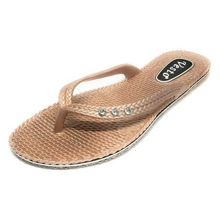 bdc4cbe6acb8a Vesto - Vesto Ladies Metallic Comfort Flip Flop with Rhinestone -  Walmart.com