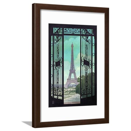 Paris, France - Eiffel Tower and Gate Lithograph Style Urban Architecture Cityscape Framed Print Wall Art By Lantern Press