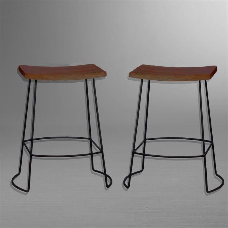 Carolina Classics Aryan 24 Quot Saddle Seat Counter Stool Set