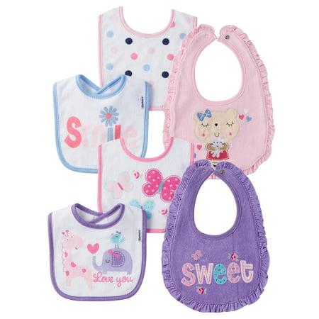 20db53187431 Gerber Newborn Baby Girl Assorted Terry Bibs