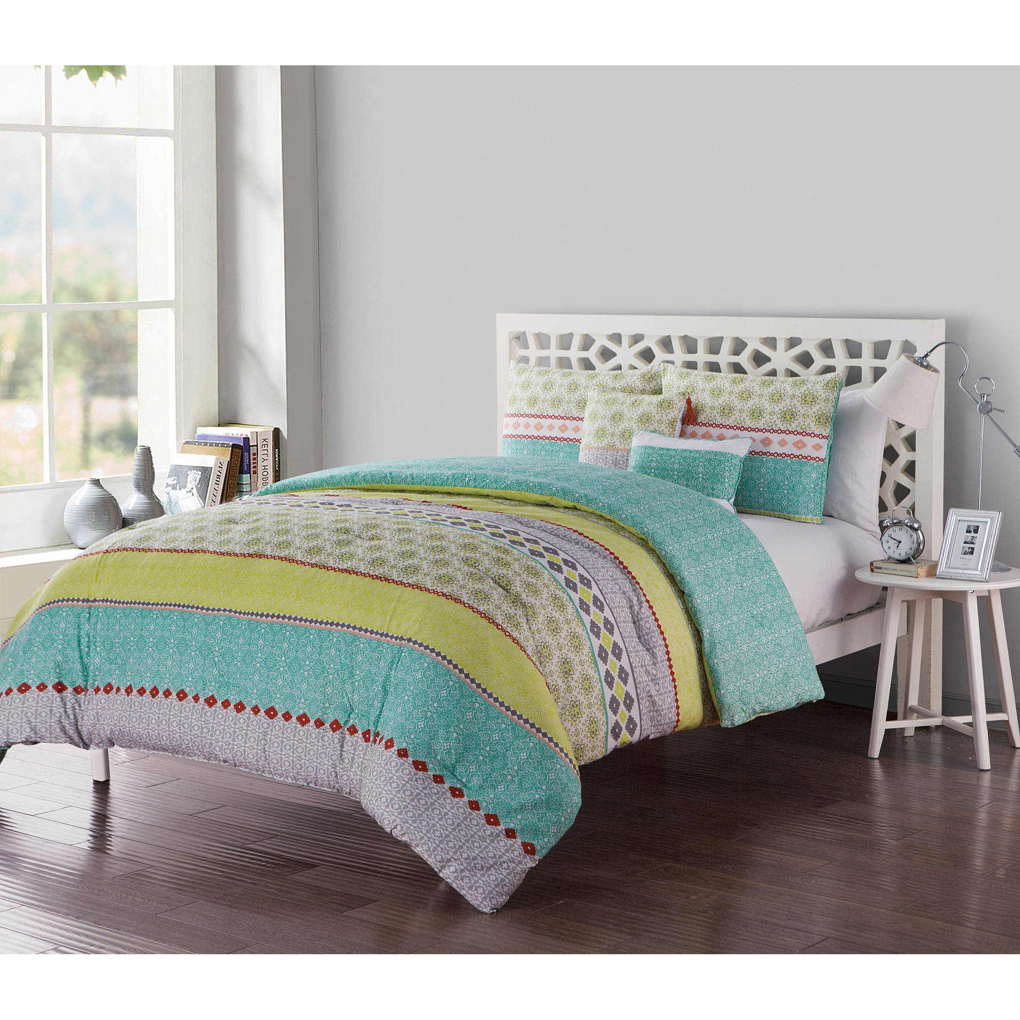 VCNY Home Multi-Color Geometric Printed 4/5 Piece Dharma Embellished Reversible Bedding Comforter Set, Decorative Pillows and Shams Included