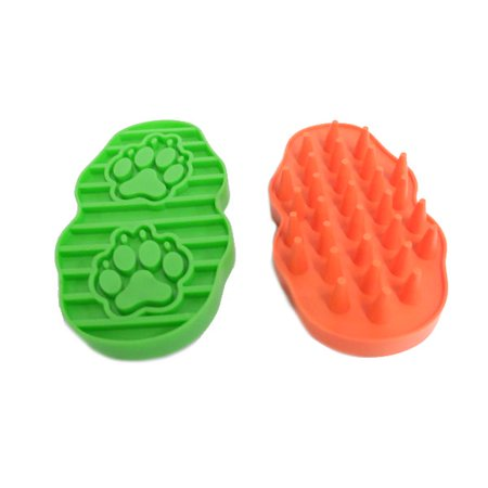 Flexible Rubber Hair Removing Massage Brush For Pets Set of 2