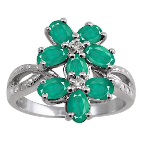 JewelonFire Silver Emerald Gemstone and White Diamond Accent Five Stone Ring