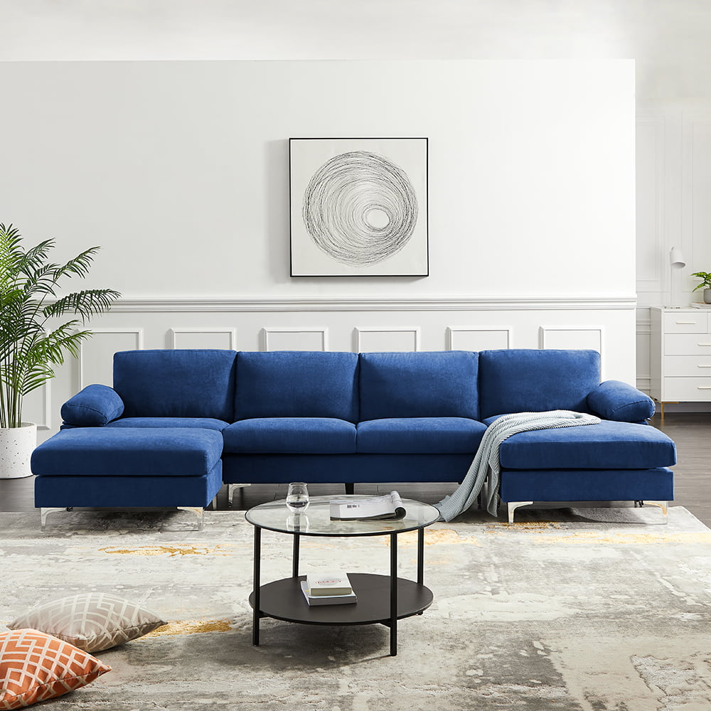 Veryke Modern L Shaped Convertible Sectional Sofa Beds Sofa Couch For Living Room Small Space Blue Walmart Com Walmart Com