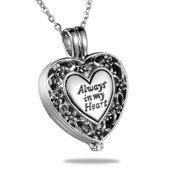 Always in My Heart Antique Cremation Jewelry Keepsake Memorial Urn Necklace for Friend/Family/Pet
