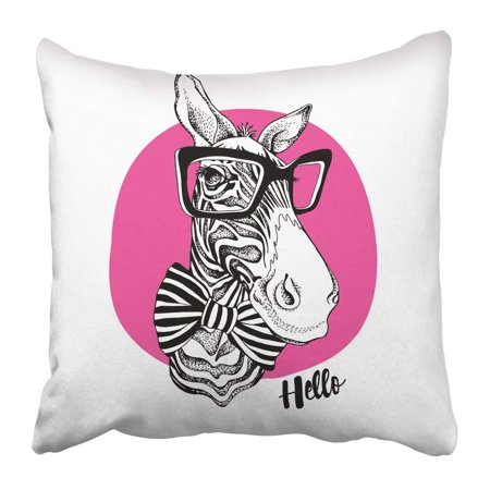 BPBOP White Bow Zebra Portrait in Striped Tie with Black Glasses on Pink Face Africa Horse Tuxedo Hipster Pillowcase 16x16 inch