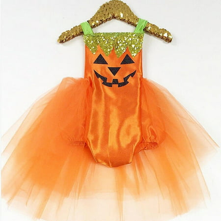Baby Infant Girl Halloween Pumpkin Romper Bodysuit Dress Costume Clothes Outfit (Baby Clothes Halloween)