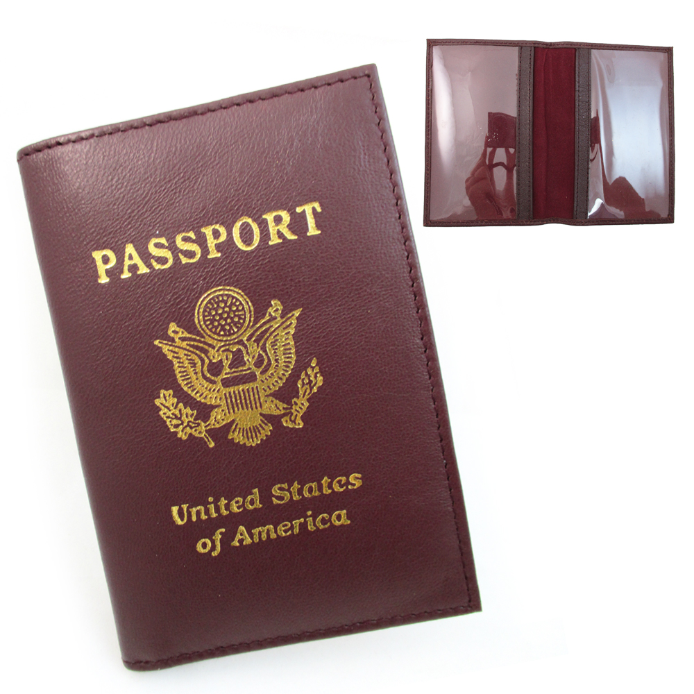 GENUINE BURGUNDY LEATHER PASSPORT COVER HOLDER CASE WALLET TRAVEL US GOLD EMBLEM