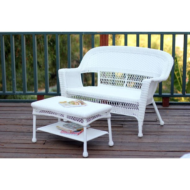 2-Piece Aurora White Resin Wicker Patio Loveseat and Coffee Table Furniture Set, 51""