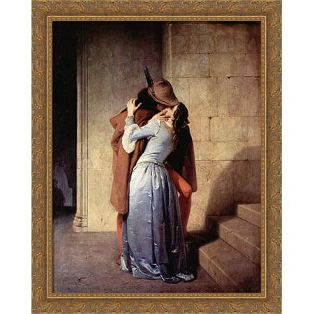 The Kiss 28x34 Large Gold Ornate Wood Framed Canvas Art by Francesco Hayez ()